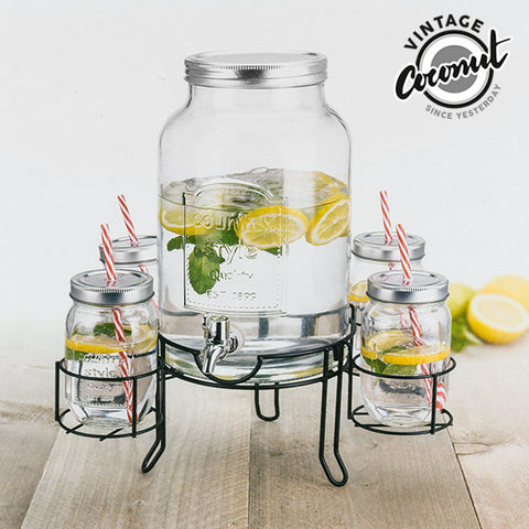 Image of Vintage Coconut Drinks Dispenser with 4 Tumblers-Universal Store London™