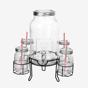 Vintage Coconut Drinks Dispenser with 4 Tumblers