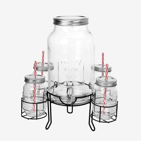 Vintage Coconut Drinks Dispenser with 4 Tumblers-Universal Store London™