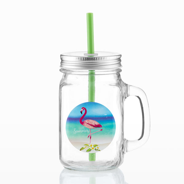 Wagon Trend Flamingo Jars with Lids and Straws (pack of 6)-Universal Store London™