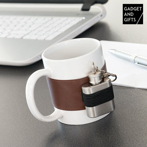 Image of Gadget and Gifts Ceramic Mug with Metal Hip Flask-Universal Store London™