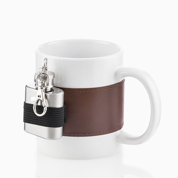 Gadget and Gifts Ceramic Mug with Metal Hip Flask-Universal Store London™