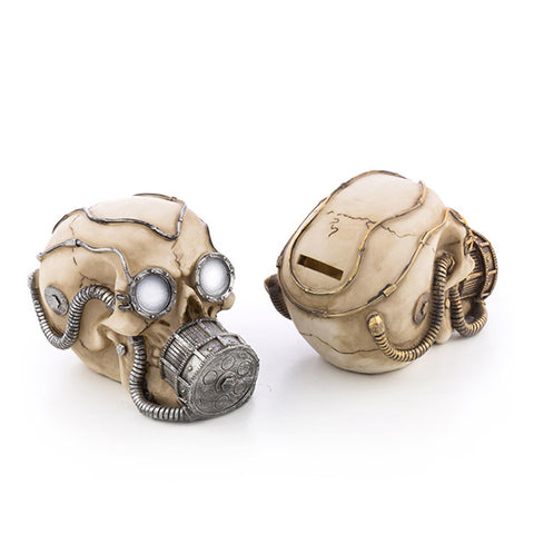 Image of Gadget and Gifts Skull Piggy Bank with Gas Mask-Universal Store London™