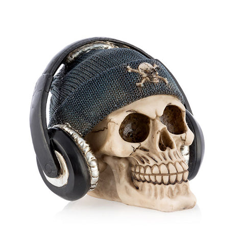 Image of Gadget and Gifts Pirate Skull Piggy Bank with Earphones-Universal Store London™