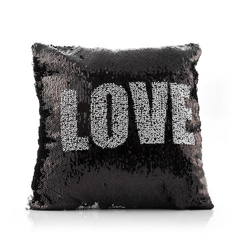 Image of Loom In Bloom Love & Heart Magic Mermaid Sequin Cushion-Universal Store London™