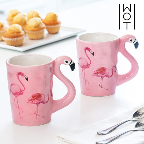 Wagon Trend Flamingo Mug with Handle (Pack of 2)-Universal Store London™