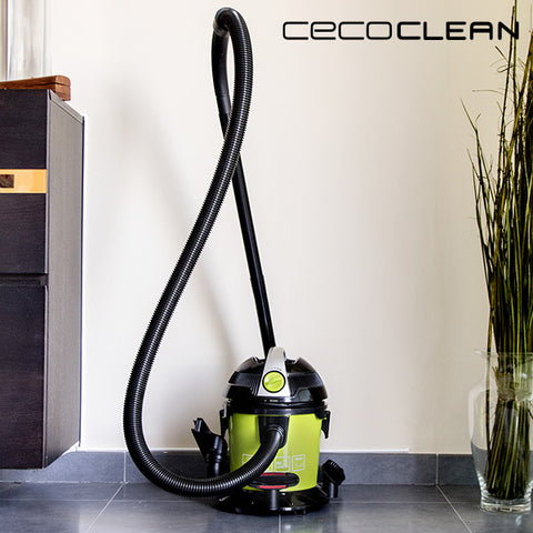 Cecoclean Wet & Dry Easy 5033 10 L 1000W Solids and Liquids Turbo Vacuum Cleaner Black Green-Universal Store London™
