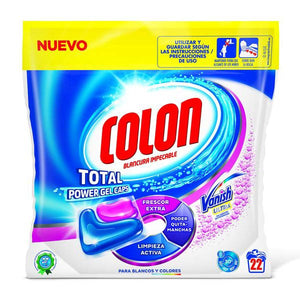 Colon Total Power Gel Caps Vanish Laundry Detergent Capsules (22 Washes)-Universal Store London™