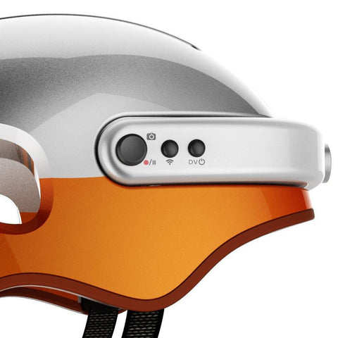 Image of Airwheel C5 Carbon Fibre Smart Helmet with Integrated Bluetooth and HD Cam - Orange-Universal Store London™