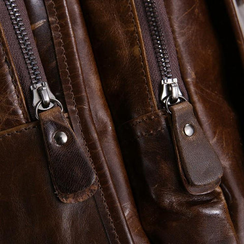 Image of 'Albert' Leather Backpack - Dark Brown-Universal Store London™