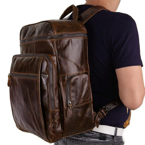 'Albert' Leather Backpack - Dark Brown-Universal Store London™