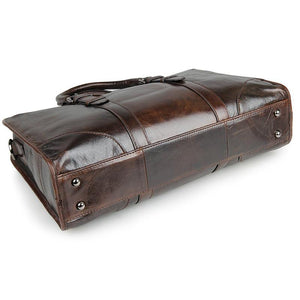 Amalfi Italian Leather Briefcase for Women - Dark Brown-Universal Store London™