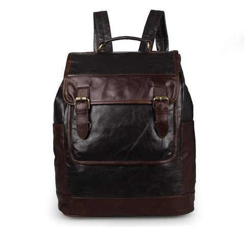 'Amazon' Dark Grey and Brown Leather Backpack-Universal Store London™