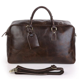 Andy Leather Holdall Travel Bag - Chocolate Brown