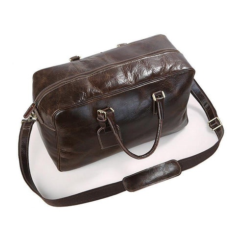 Image of Andy Leather Holdall Travel Bag - Chocolate Brown-Universal Store London™