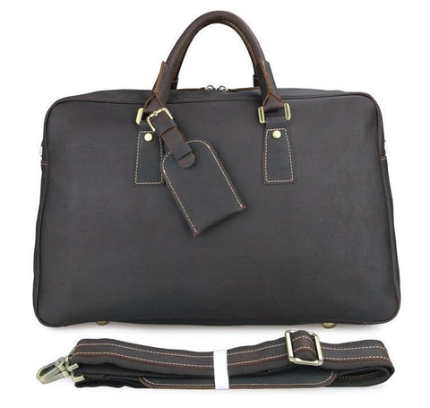Image of Andy Leather Holdall Travel Bag - Dark Brown-Universal Store London™