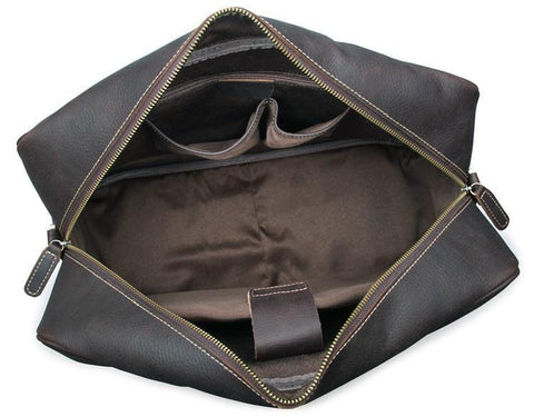 Andy Leather Holdall Travel Bag - Dark Brown-Universal Store London™