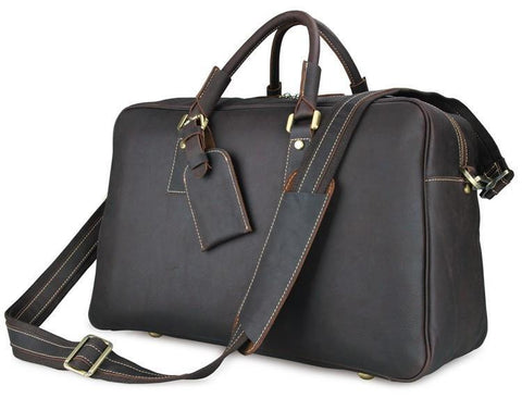 Image of 'Andy' Leather Holdall Travel Bag - Dark Brown-Universal Store London™
