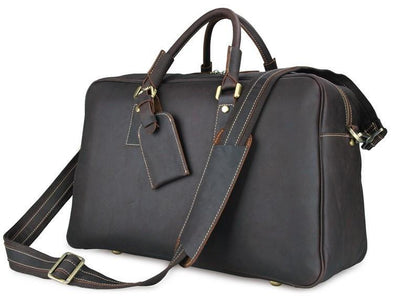 'Andy' Leather Holdall Travel Bag - Dark Brown-Universal Store London™