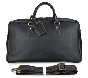 Andy Pebble Leather Holdall Travel Bag - Dark Brown