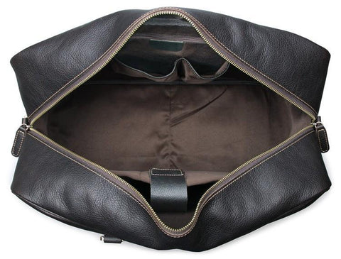 Andy Pebble Leather Holdall Travel Bag - Dark Brown-Universal Store London™