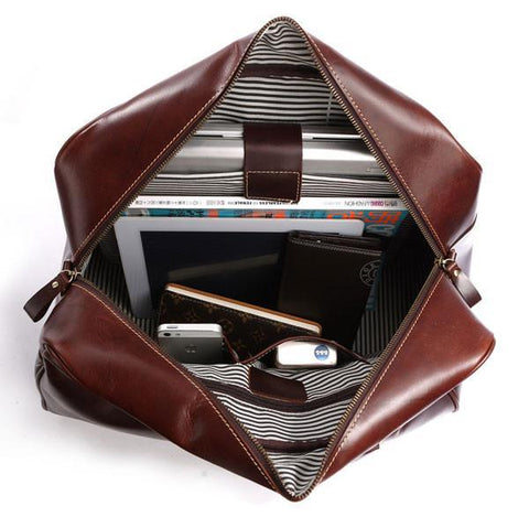 Image of 'Andy' Saddle Leather Holdall Travel Bag - Copper Brown-Universal Store London™