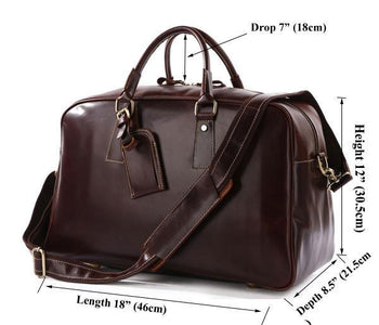 'Andy' Saddle Leather Holdall Travel Bag - Copper Brown-Universal Store London™