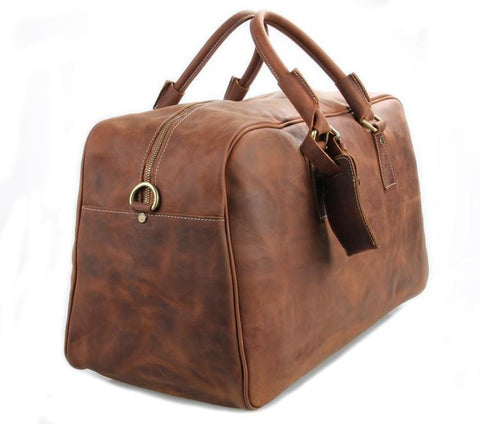 Image of 'Andy' Saddle Leather Holdall Travel Bag - Fawn-Universal Store London™