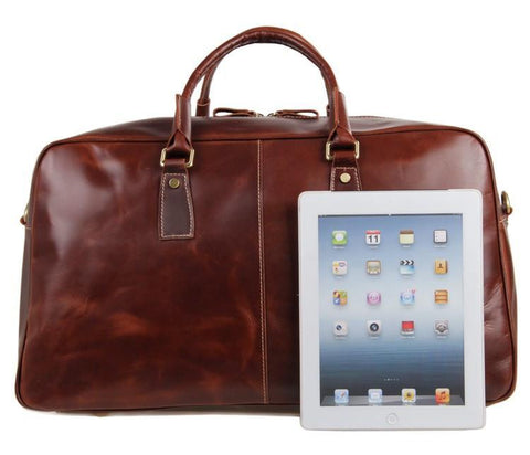 Image of 'Andy' Saddle Leather Holdall Travel Bag - Russet-Universal Store London™