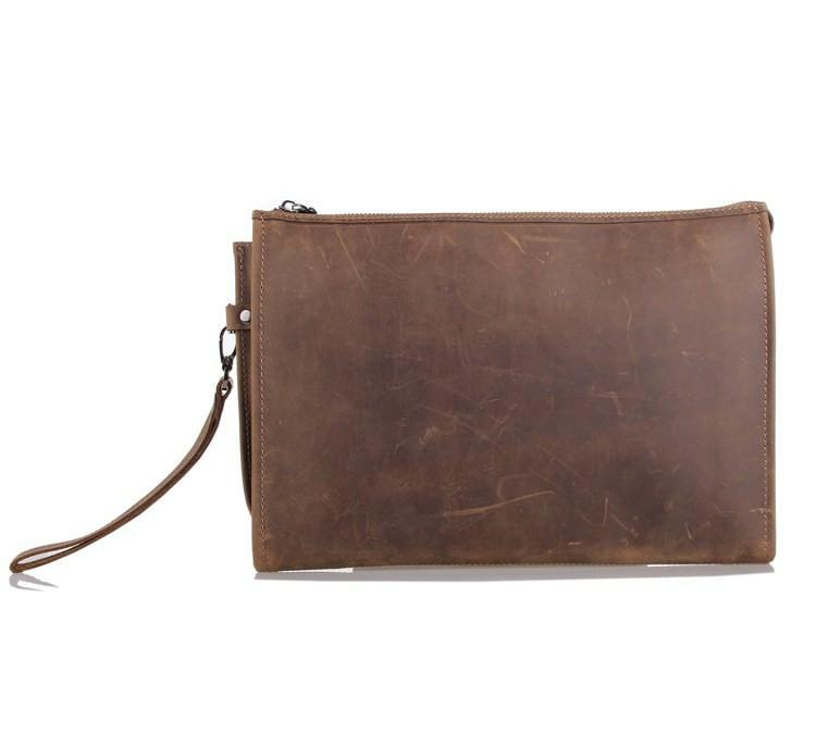 Anson Brown Leather Large Pocket Bag-Universal Store London™