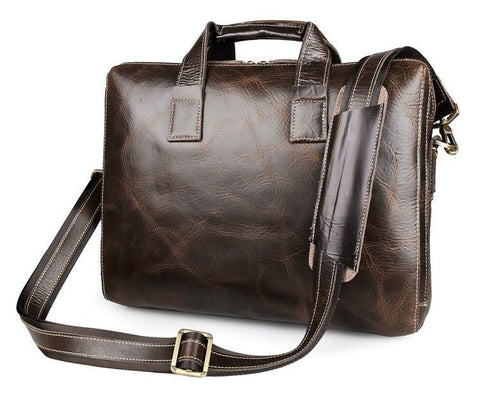 Image of 'Banbury' Genuine Leather Briefcase - Brown-Universal Store London™