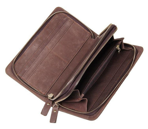Image of 'Birkenhead' Unisex Genuine Leather Business Clutch Bag - Brown-Universal Store London™