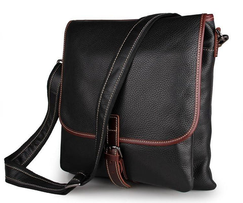 Image of Black Full Grain Leather iPad Messenger Bag-Universal Store London™