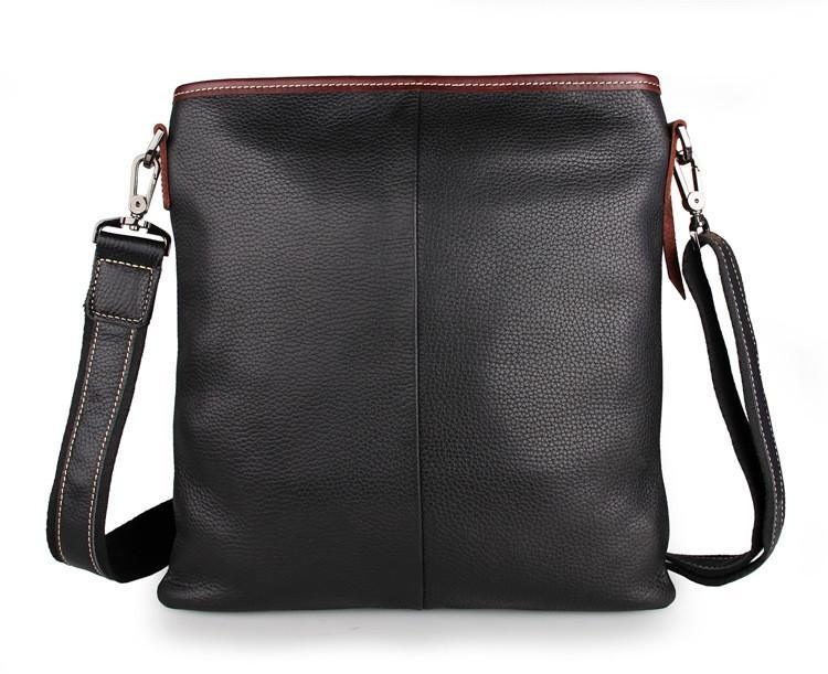Black Full Grain Leather iPad Messenger Bag-Universal Store London™