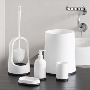 Black & White Homania Bathroom Accessories (5 pieces)-Universal Store London™
