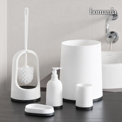 Image of Black & White Homania Bathroom Accessories (5 pieces)-Universal Store London™
