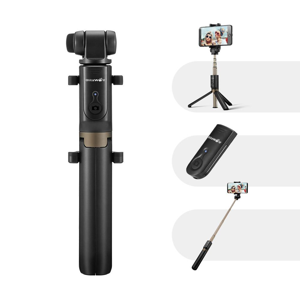 BlitzWolf® BW-BS3 Sport Versatile 3 in 1 Bluetooth Tripod Selfie Stick for Smartphone and Action Camera-Universal Store London™
