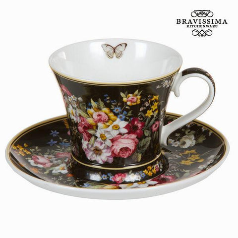 Image of Bloom black cup with saucer - Kitchen's Deco Collection by Bravissima Kitchen-Universal Store London™