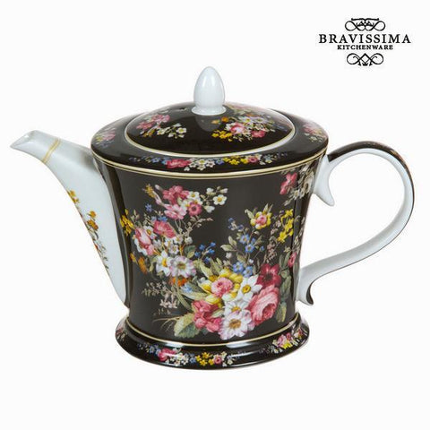 Image of Bloom black porcelain teapot - Kitchen's Deco Collection by Bravissima Kitchen-Universal Store London™