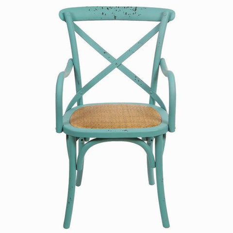 Image of Blue wooden chair with arms blue by Craften Wood-Universal Store London™