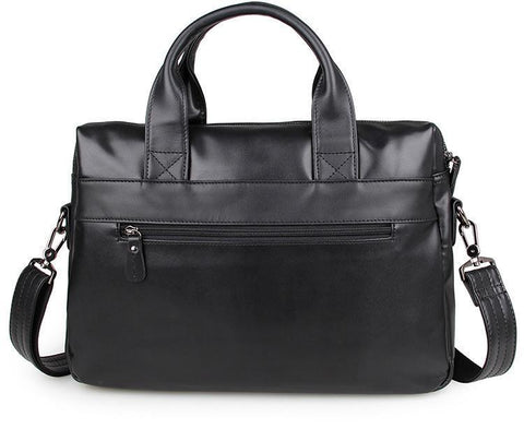 Image of 'Bobby' Saddle Leather Laptop Bag Briefcase - Black-Universal Store London™