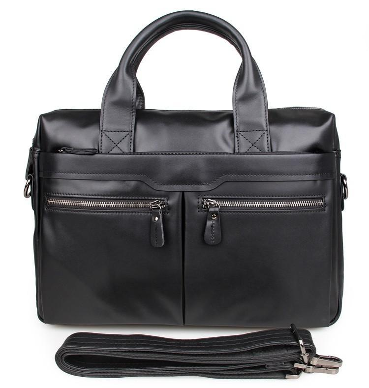 'Bobby' Saddle Leather Laptop Bag Briefcase - Black-Universal Store London™