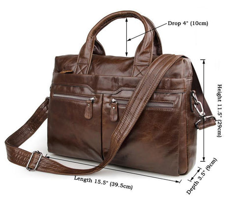 Image of 'Bobby' Saddle Leather Laptop Bag Briefcase - Brown-Universal Store London™