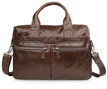 'Bobby' Saddle Leather Laptop Bag Briefcase - Brown-Universal Store London™