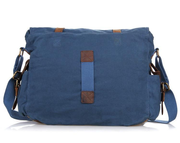 'Boston' Classic Canvas and Leather Messenger Bag-Universal Store London™