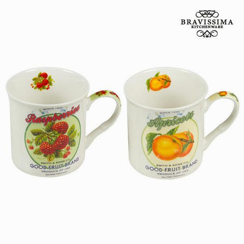 Image of Box set of 2 mugs with fruits design - Kitchen's Deco Collection by Bravissima Kitchen-Universal Store London™