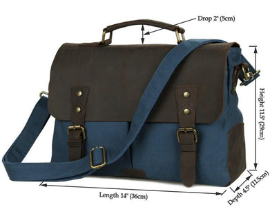'Bridgetown' Classic Canvas and Leather Messenger Bag-Universal Store London™