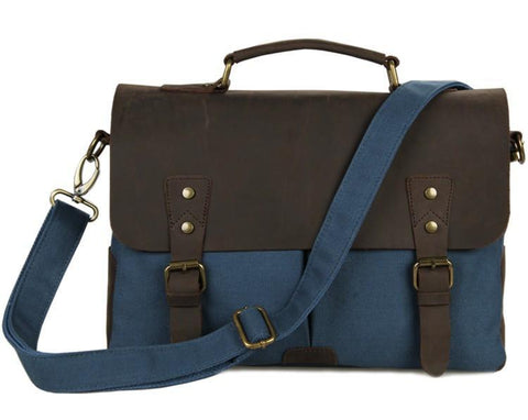 Image of 'Bridgetown' Classic Canvas and Leather Messenger Bag-Universal Store London™
