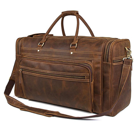 Brown Top Grain Leather 'Giambino' Italian inspired Holdall Bag-Universal Store London™