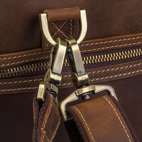 Image of Brown Top Grain Leather 'Giambino' Italian inspired Holdall Bag-Universal Store London™